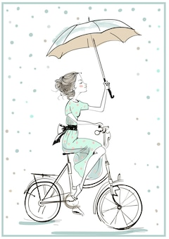 Twee schattig schetsmatig zomermeisje met fiets
