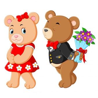 Twee schattige beren die het beste kostuum gebruiken
