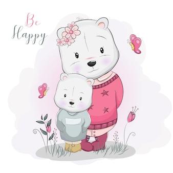 Twee schattige cartoon beren in bloem veld