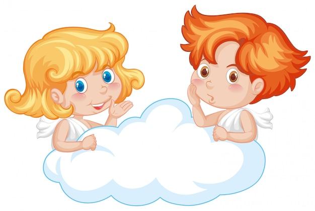 Twee schattige engelen op de wolk