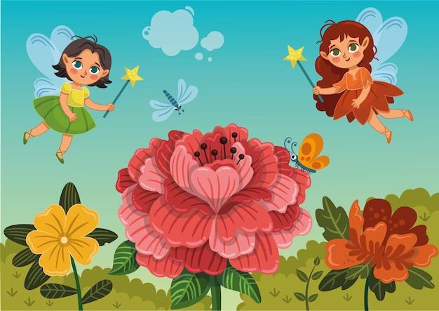 Twee schattige feeën die in de buurt van bloemen vliegen vectorillustratie