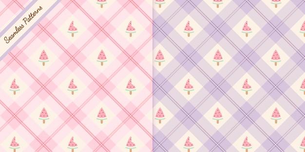 Twee schattige kawaii naadloze patronen set premium vector