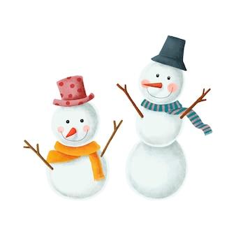 Twee schattige kerst sneeuwpop illustraties