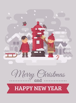 Twee schattige kinderen die een brief naar santa claus christmas greeting card flat illustratio