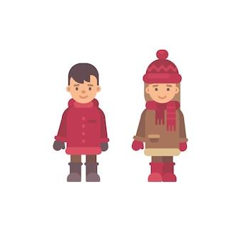 Twee schattige kleine kinderen in winterkleren. kerst kinderen karakters. valentijnsdag schattig