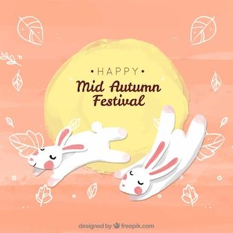 Twee schattige konijnen, midden herfstfestival