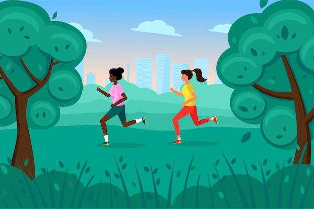 Twee schattige magere meisjes rennen in de zomer door het park