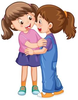 Twee schattige meisjes die elkaar knuffelen