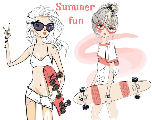 Twee schattige schetsmatige zomermeisjes met skateboards
