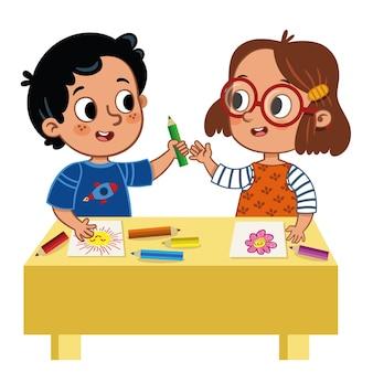 Twee schattige schoolkinderen die kleurpotloden delen vectorillustratie