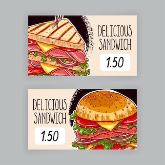 Twee schattige spandoeken met smakelijke sandwiches. prijskaartjes. handgetekende illustratie