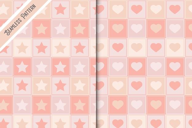 Twee schattige sterren en hoort naadloze patronen instellen