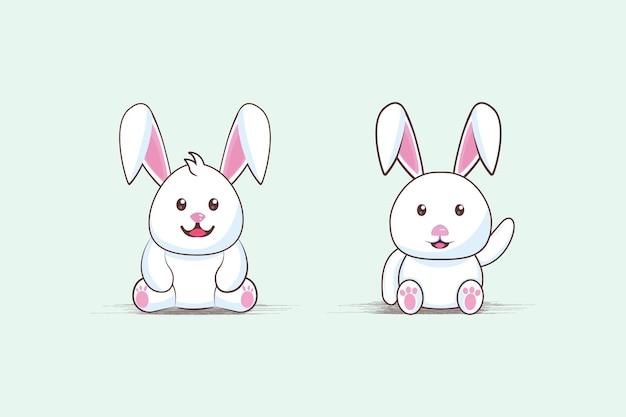 Twee schattige tekenfilms met dikke konijnen