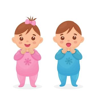 Twee schattige tweelingbaby's een babymeisje en een babyjongen