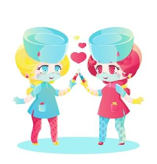 Twee schattige verpleegsters houden een spuit in hun handen. kinderen cartoon manga-stijl in felle kleuren. chibi-personages