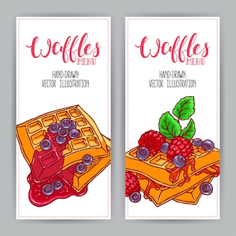 Twee schattige verticale banner van wafels en bessen. handgetekende illustratie