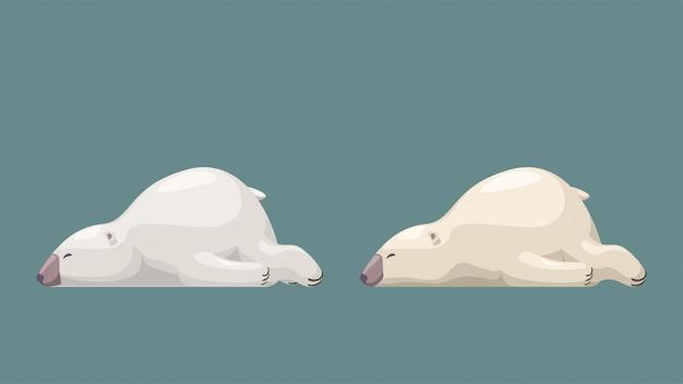 Twee schattige witte beren op blauw