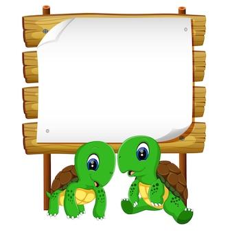 Twee schildpad met blank hout backgorund