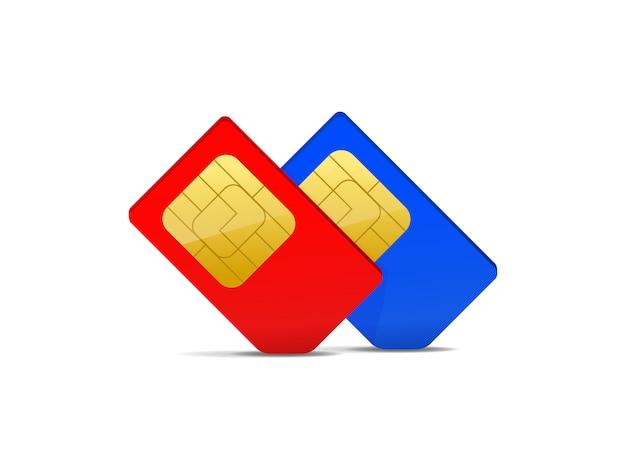 Twee simkaart rood en blauw