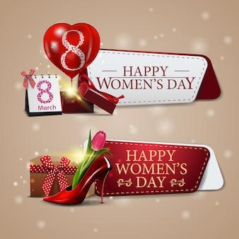 Twee sjablonen tot 8 maart met cadeau en damesschoen