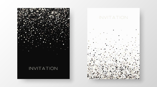 Twee sjabloonontwerp van uitnodiging met gouden pailletten. feestelijke ontwerp ansichtkaarten, uitnodigingen, brochures