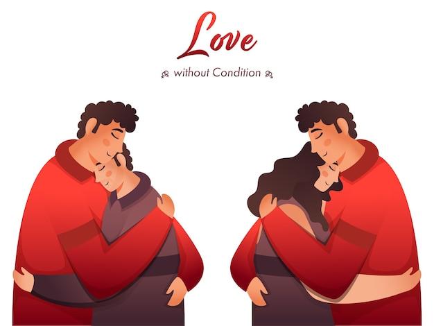 Twee soorten paar knuffelen op witte achtergrond voor liefde zonder conditie