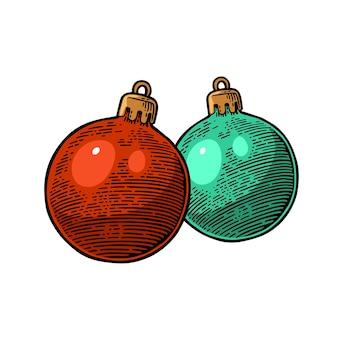 Twee speelgoedballen voor dennenboom voor prettige kerstdagen en gelukkig nieuwjaar poster graveren geïsoleerd op wit