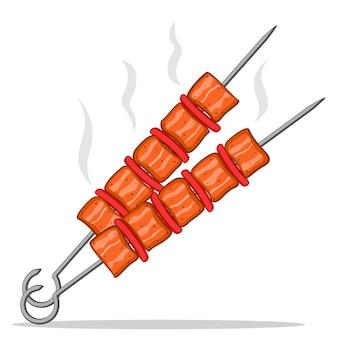 Twee spiesjes met gebakken kebab op een witte achtergrond.