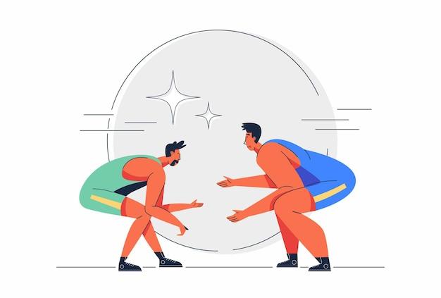 Twee sporters in worstelcompetitie in stripfiguurillustratie