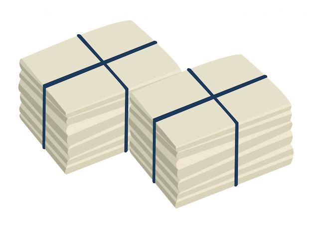 Twee stapel afgemeerd papier