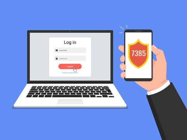 Twee stappen authenticatieconcept. verificatie door smartphone