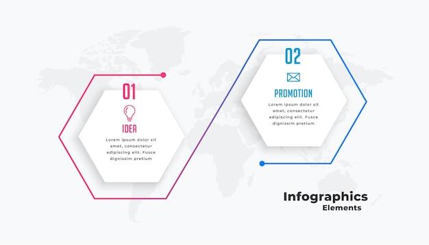 Twee stappen verbonden infographic sjabloon