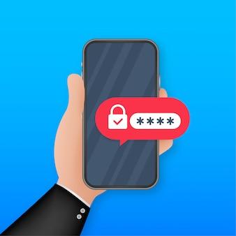 Twee-staps authenticatie illustratie, cartoon smartphone en computer veiligheid inloggen of inloggen. illustratie.