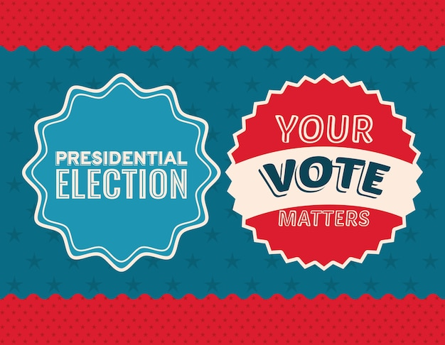 Twee stemzegels op sterrenhemel en blauw ontwerp als achtergrond, de verkiezingsregering van de president en campagnethema.
