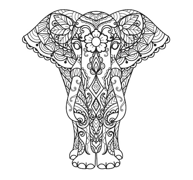Twee stijlen van mandala-olifant voor afdrukken, graveren, kleurboek enzovoort. vector illustratie.