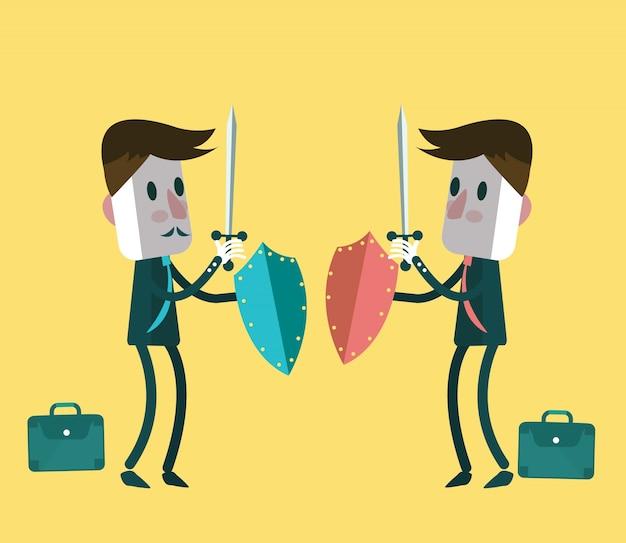 Twee strijders zakenlieden vechten. platte karakterontwerp. vector illustratie