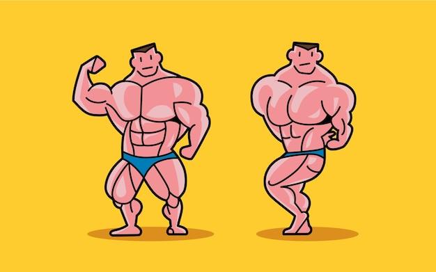 Twee stripfiguren van bodybuilder poseren