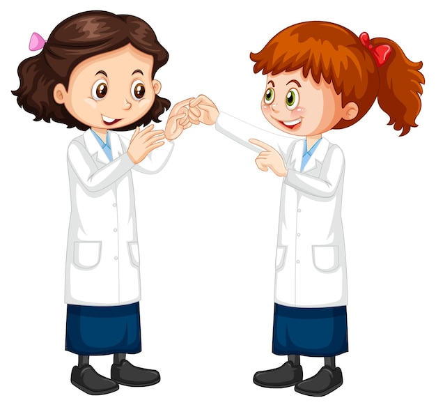 Twee stripfiguren van wetenschappersmeisjes die met elkaar praten