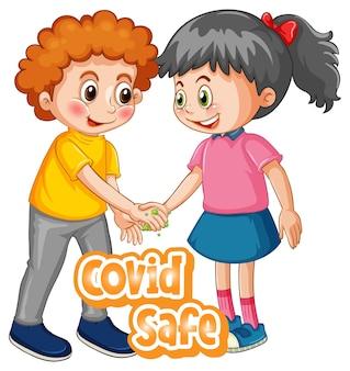Twee stripfiguren voor kinderen houden geen sociale afstand met covid safe-lettertype geïsoleerd op een witte achtergrond