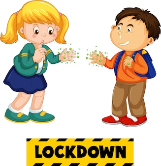 Twee stripfiguren voor kinderen houden geen sociale afstand met lockdown-lettertype geïsoleerd op een witte achtergrond