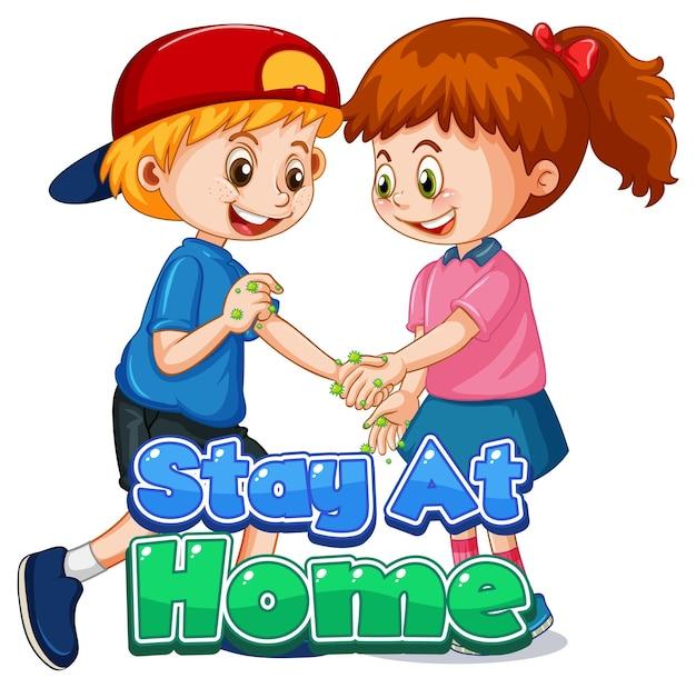Twee stripfiguren voor kinderen houden geen sociale afstand met stay at home-lettertype geïsoleerd op een witte achtergrond