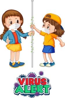 Twee stripfiguren voor kinderen houden geen sociale afstand met virus alert-lettertype geïsoleerd op een witte achtergrond