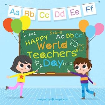 Twee studenten en een schoolbord, wereld leraren dag