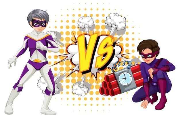Twee superhelden die met elkaar vechten