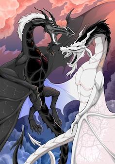 Twee tegenovergestelde draken bestrijden elkaars fantasieillustratie