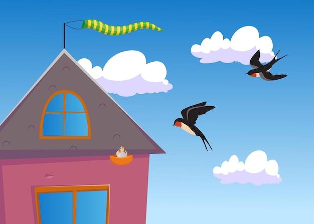 Twee tekenfilmzwaluwen die naar hun nest vliegen. vlakke afbeelding
