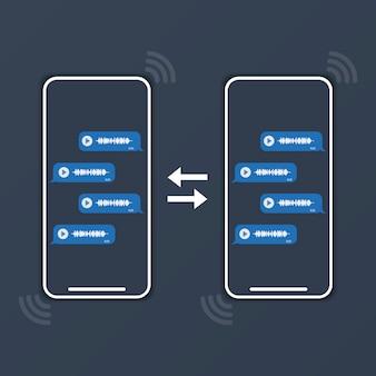Twee telefoons wisselen spraakberichten uit