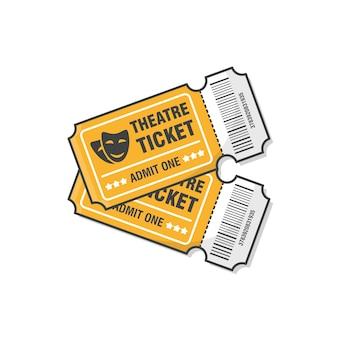 Twee theaterkaartjes pictogram illustratie