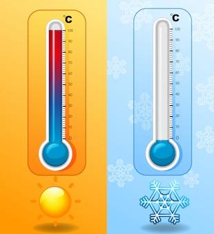 Twee thermometers bij warm en koud weer