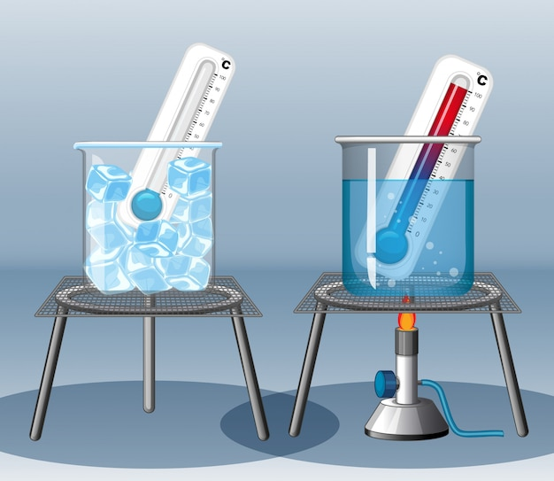 Twee thermometers in warm en koud water